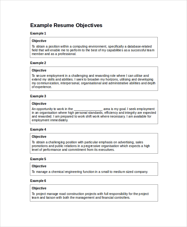 sample resume objectives inspiration decoration