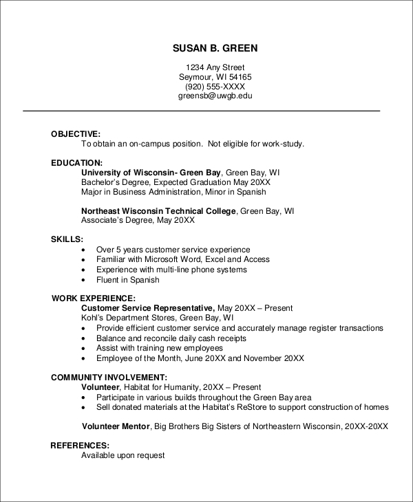 Sample Job Resume   Examples In Word Pdf