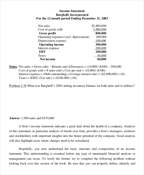 Income Statement Example   Samples In Pdf
