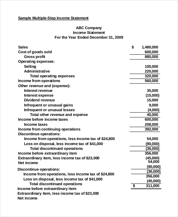 income statement format example