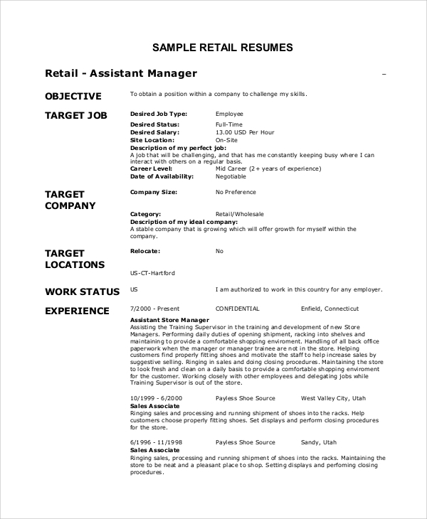 Perfect Objective For Resume Retail  Retail Objective For Resume