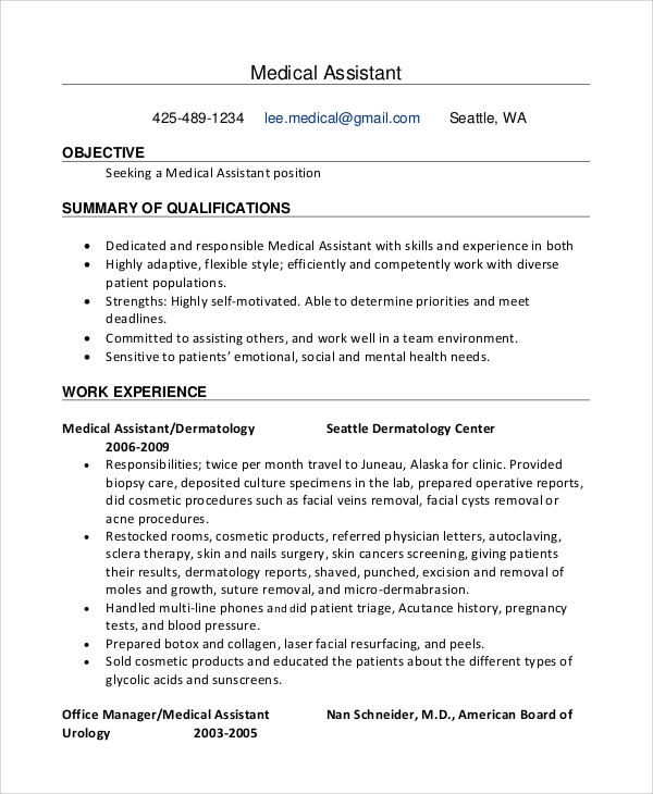 Medical Administrative Assistant Resume Sample Medical Administrative Assistant  Resume Objective Medical Receptionist Resume Objective Carpinteria Rural  Medical Assistant Resume Objectives