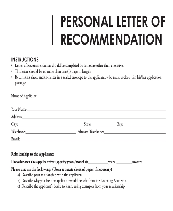 free 7  sample letter of recommendation format in ms word