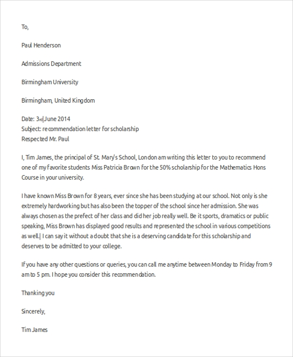 recommendation letter for scholarship 8 sample letter of recommendation formats sample templates 24218 | Sample Scholarship Recommendation Letter