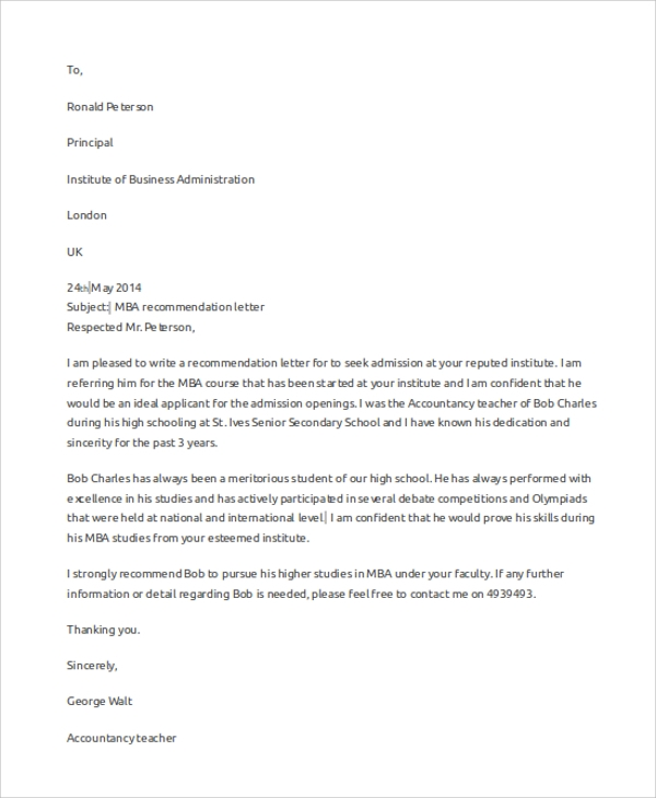 Sample Letter Of Recommendation 7 Examples In Word Pdf