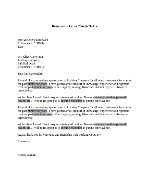 Resignation Letter 2 Week Notice Sample