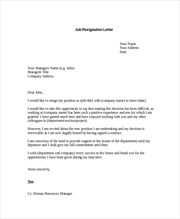 resignation letter samples career change sample resignation letter 8 examples in pdf word 13318