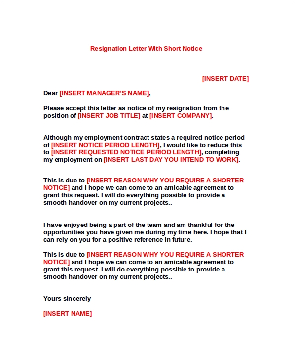 resignation letter with short notice