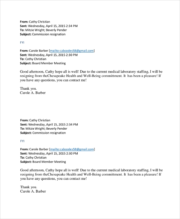 Professional Letter Of Resignation Pdf