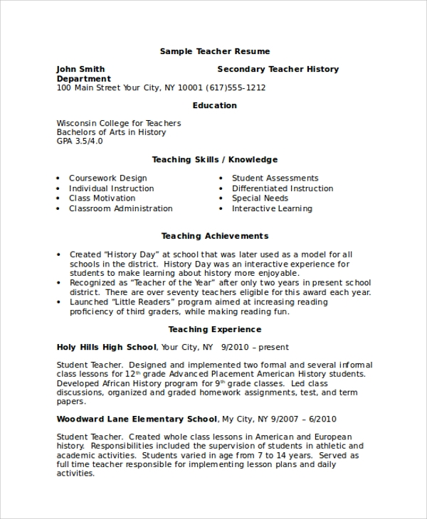 29 Basic Teacher Resume Templates Pdf Doc: 8+ Examples In Word