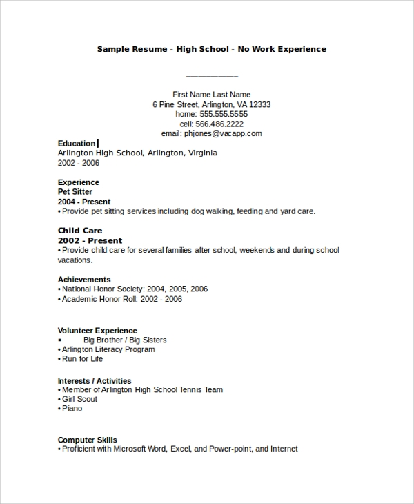 Sample Resume   Examples In Word