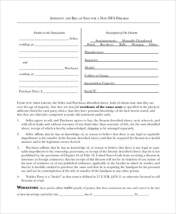 Sample Firearm Bill of Sale 8 Examples in PDF – Bill of Sale for Gun