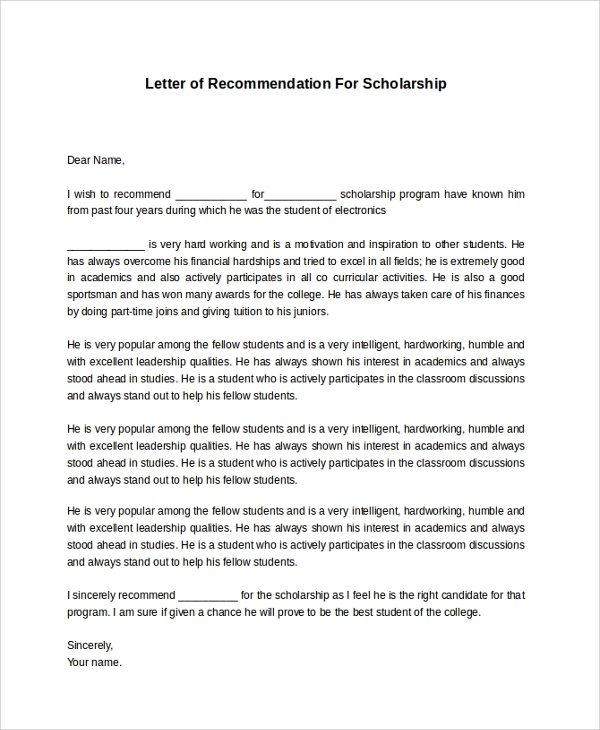 Sample Recommendation Letter   Examples In Pdf Word