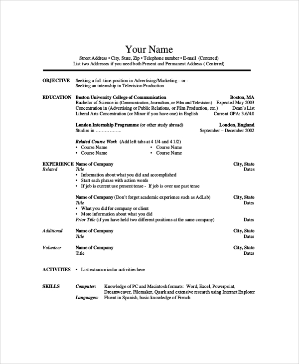 sample resume 9 examples in pdf word