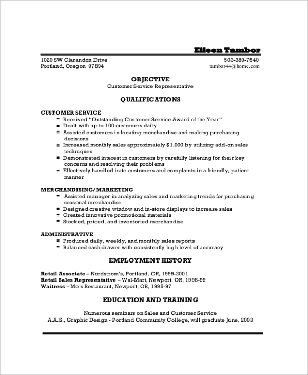 sample customer service resume1