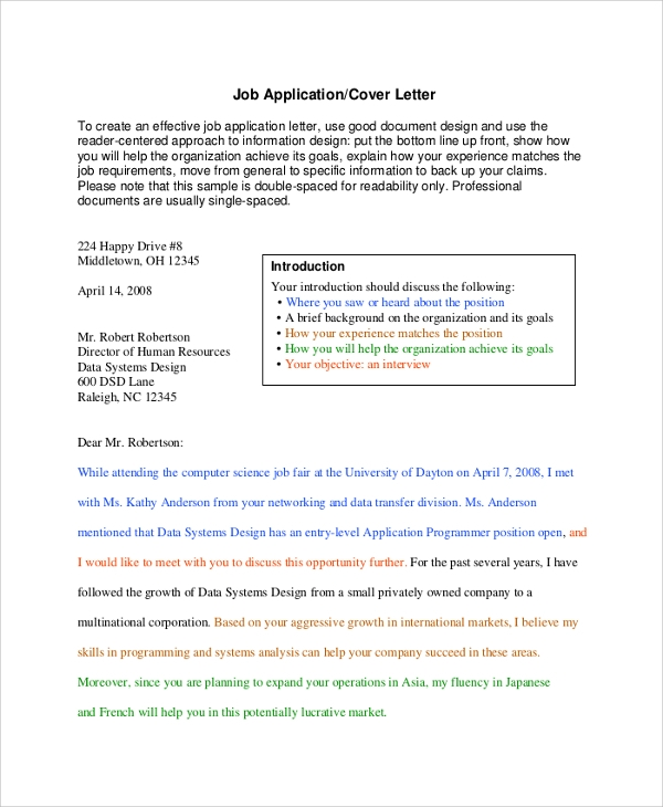 how to type up a cover letters