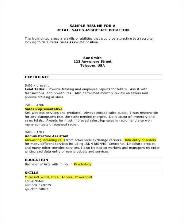 Retail Sales Associate Resume  Sample Resume For Sales Associate