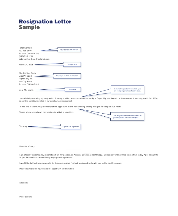 Sample Resignation Letter - 9+ Examples in PDF, Word