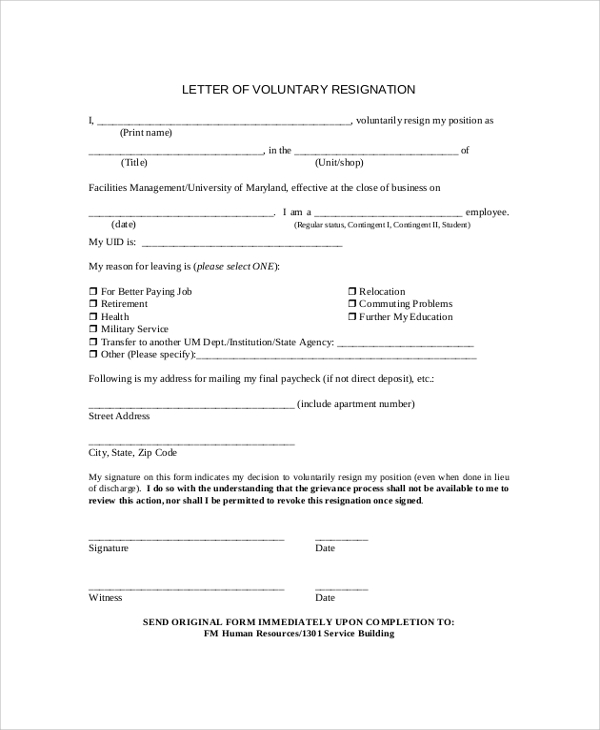 Sample resignation letter 9 examples in pdf word voluntary resignation letter sample expocarfo