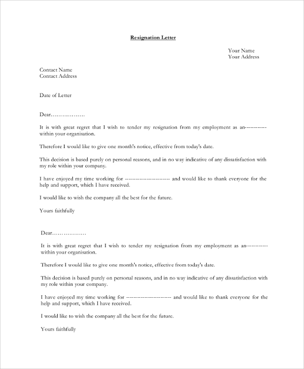 9 resignation letter samples sample templates sample resignation letter 1 month notice expocarfo Image collections