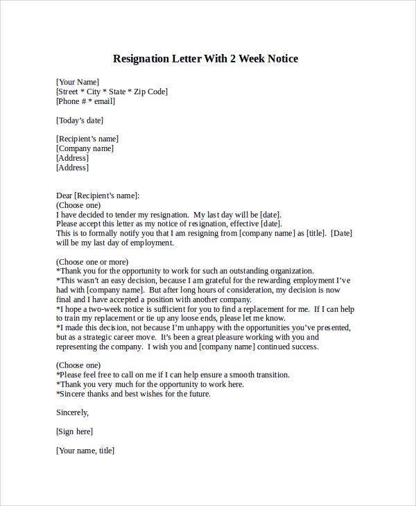 resignation letter with 2 week notice