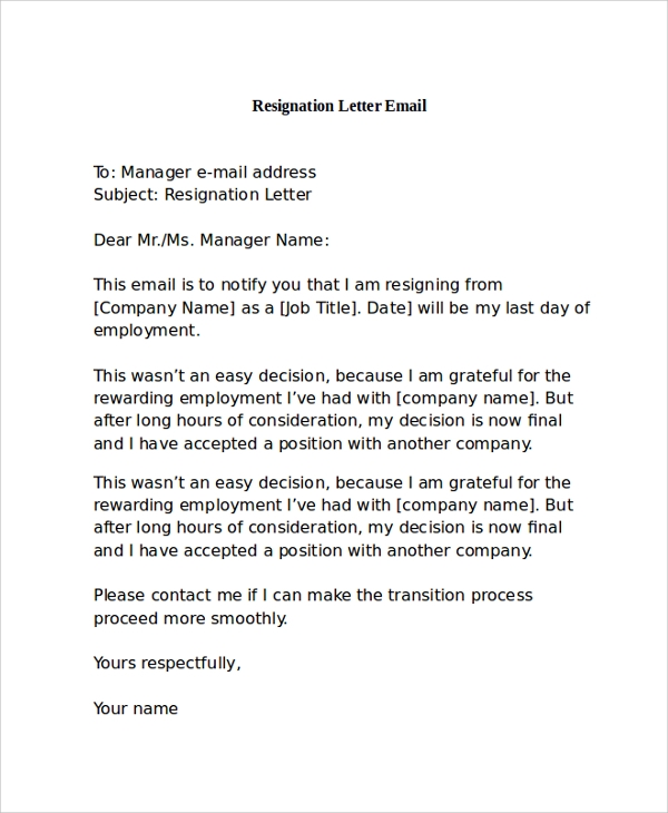 resignation letter format through email 9 resignation letter samples sample templates 13361