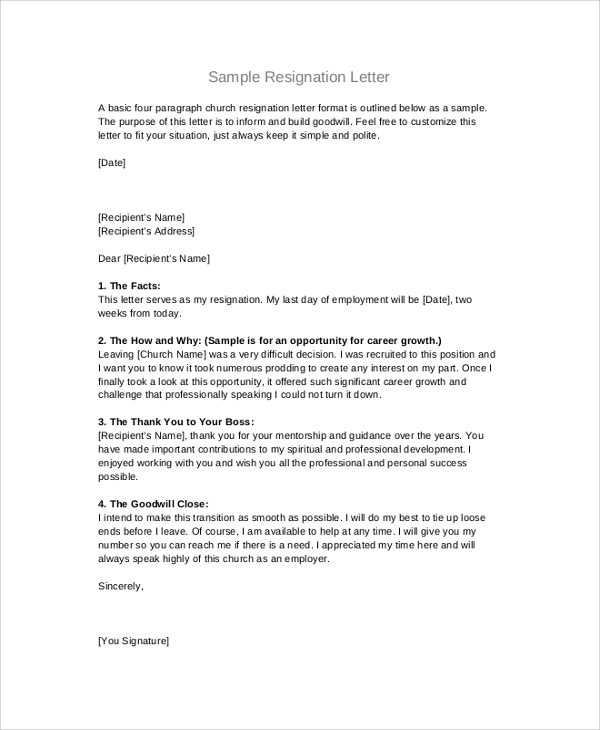 Resignation Letter Format  Sample Resignation Letters