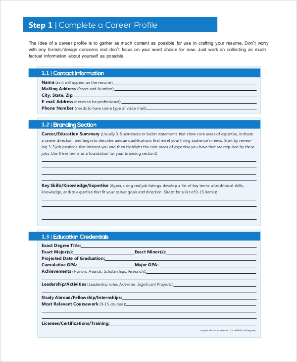 professional resume format
