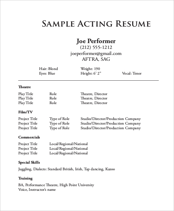 acting resume format