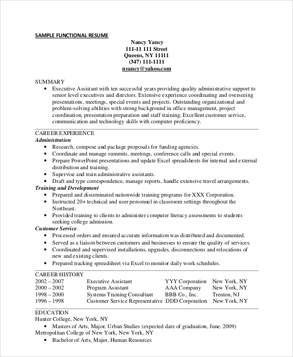 Sample Functional Resume  Sample Functional Resume For Administrative Assistant