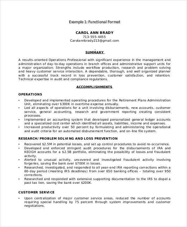 Functional Resume Sample   Examples In Pdf