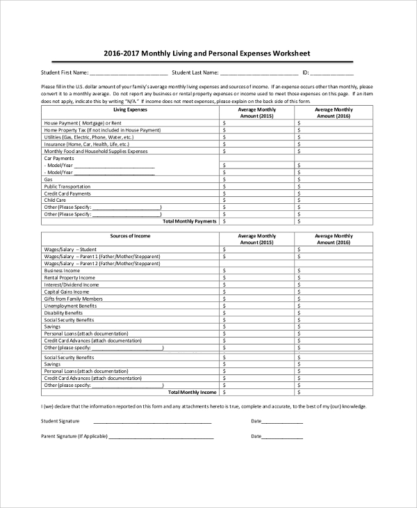 personal expense report template