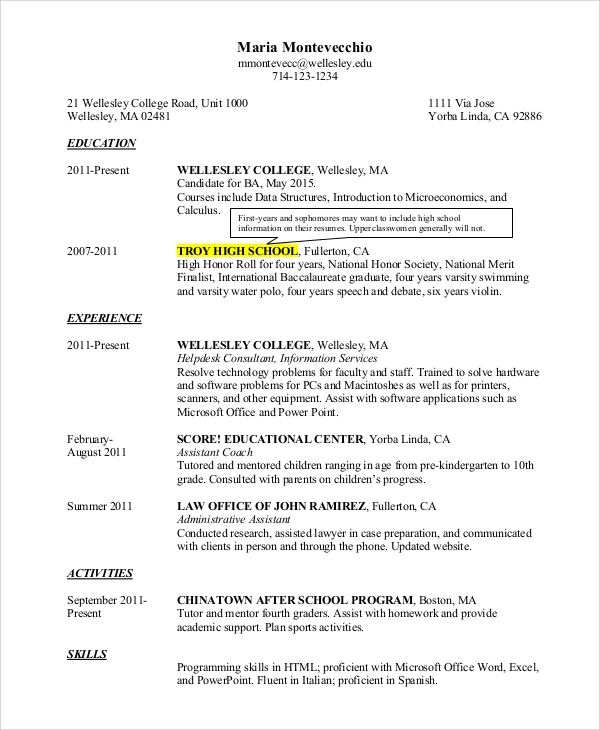 example college resume