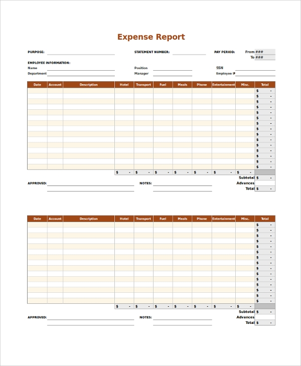Expense Report Sample 9 Examples in PDF Word Excel – Expense Report Example