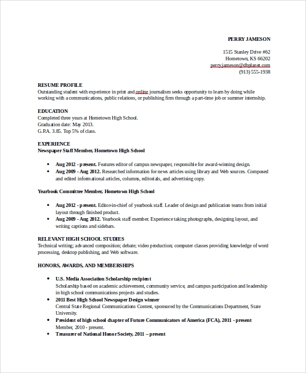 Resume Objective Examples For High School Students