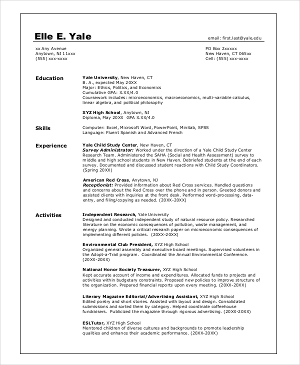free 8  sample college resume templates in pdf