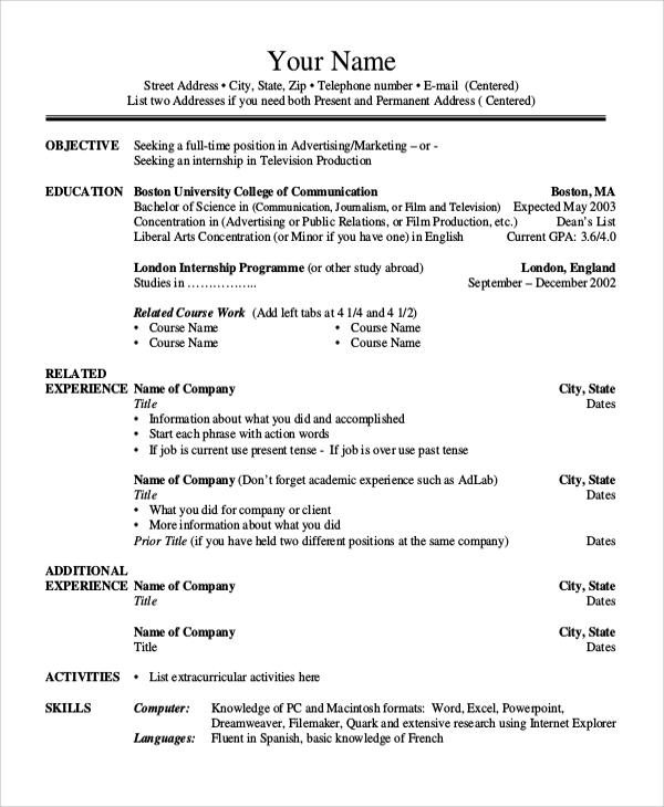 8  sample college resumes
