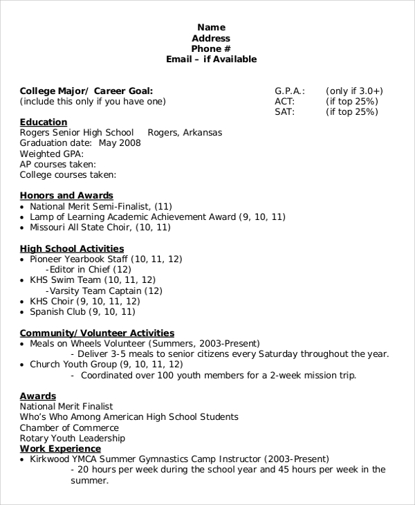 8 sample college resumes pdf doc sample templates for Sample resume for high school students applying for scholarships
