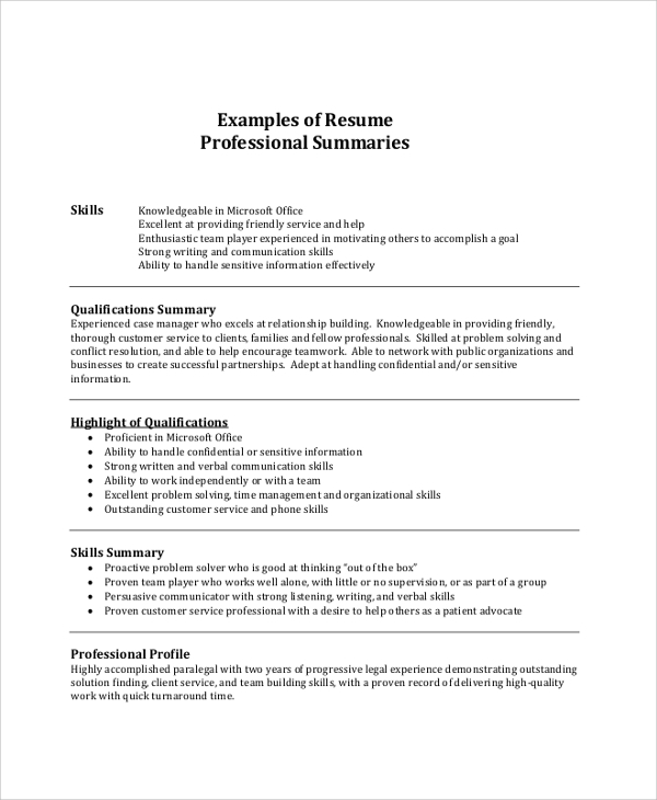 Resume Summary Example   Samples In Pdf Word