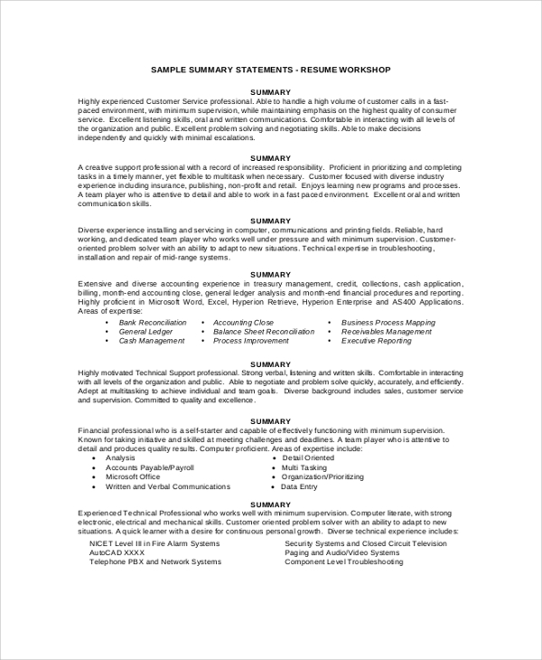 resume summary statement example - Sample Of Summary For Resume