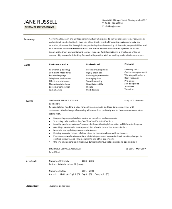customer service resume summary example
