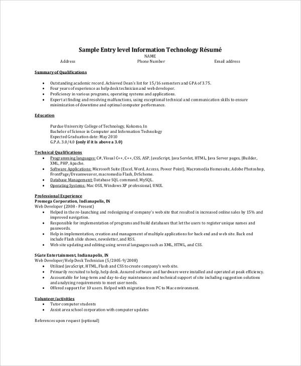 entry level resume summary 30052017 - Java Developer Entry Level