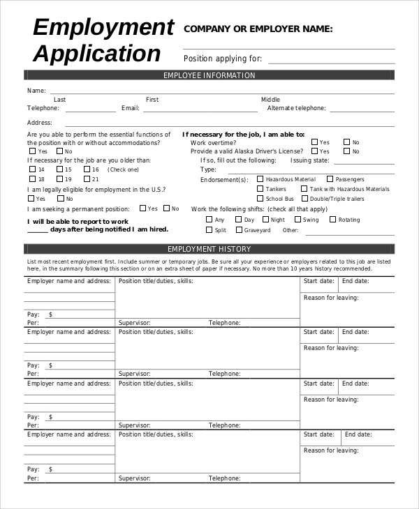 Sample Employment Application Form   Examples In Word Pdf