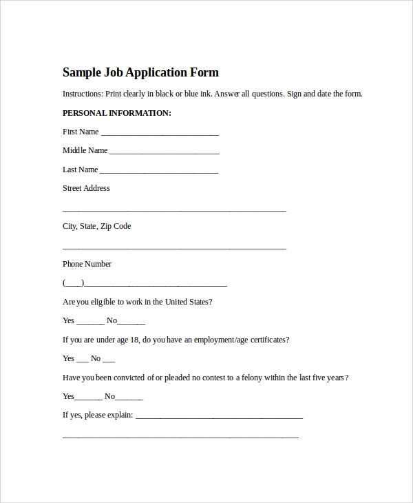 sample job application form1