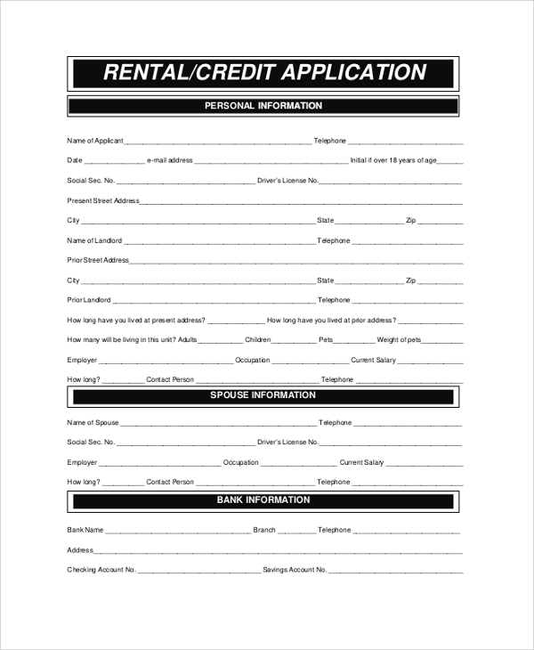 Sample Rental Application Form - 8+ Examples In Pdf, Word