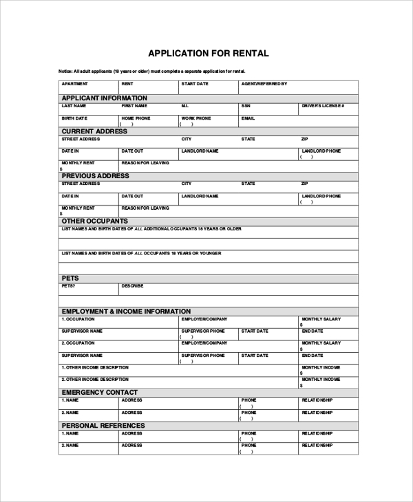 Apartment Rental Application Form Sample