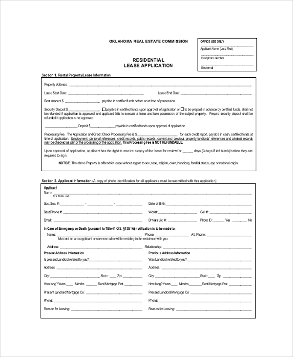 Sample Rental Application Form   Examples In Pdf Word