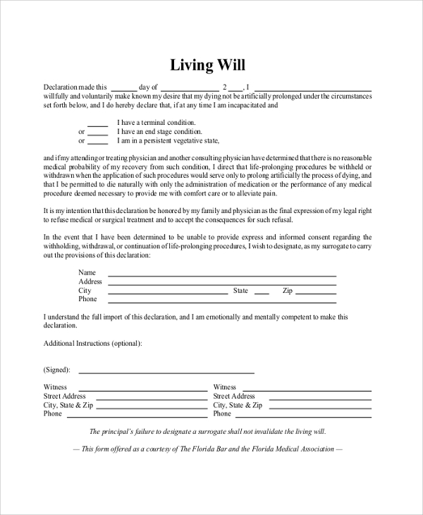 Sample Living Will Form 8 Examples in PDF Word – Sample Living Will Template