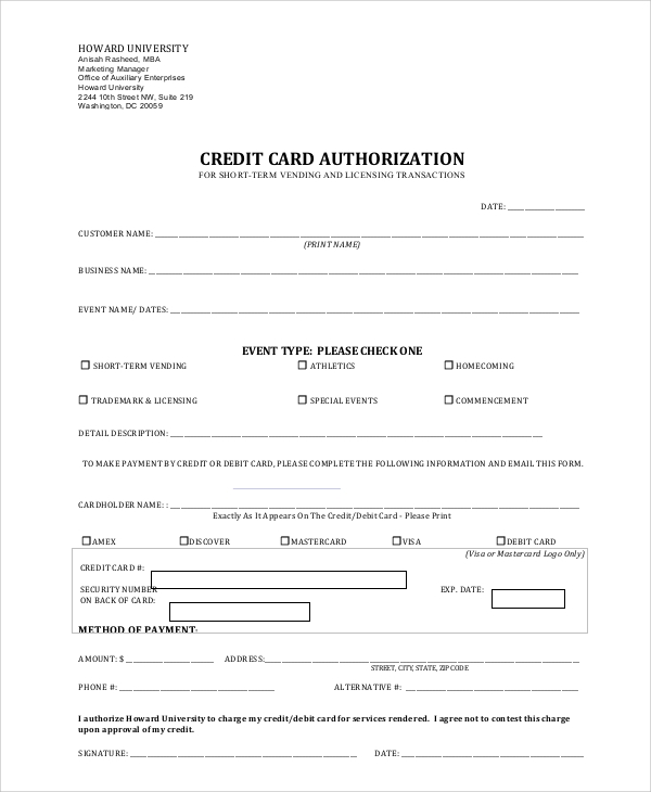 Blank credit card authorization form sample credit card for Generic consent form template