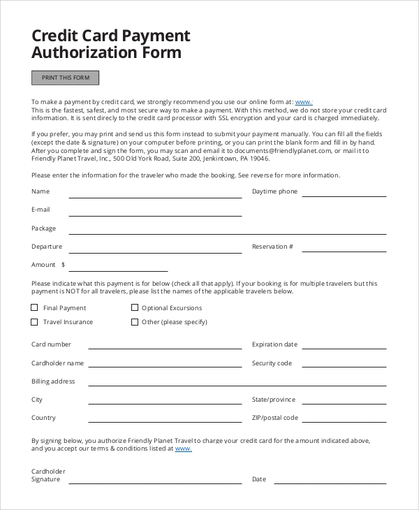 Credit Card Authorization Form Sample   Examples In Word Pdf